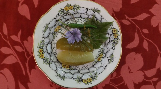 Pickles with grape leaf