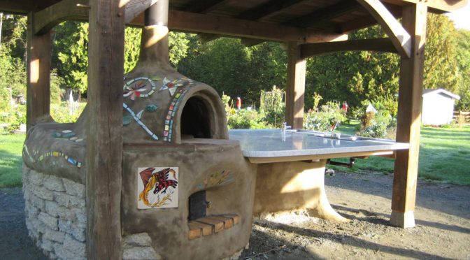 Centennial Park Cob Kitchen with 3 rocket ovens, Duncan BC