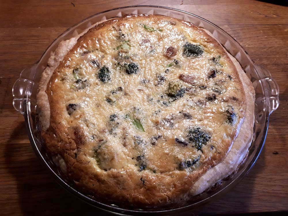Completed quiche, straight from the oven