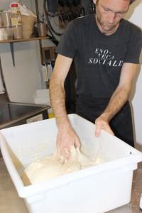Holger mixing focaccia dough