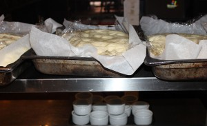 Holger's focaccia in trays.