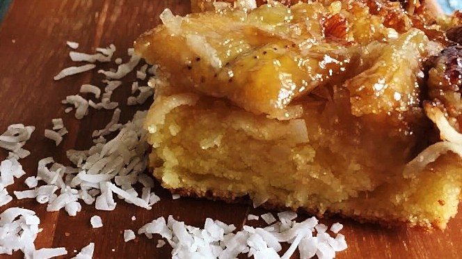 Banana coconut rum upside down cake (gluten free)